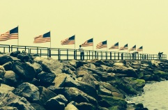 Flags at Penfield Beach, Fairfield, CT