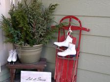 Charming winter porch display