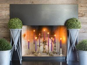 Festive fireplace with candles